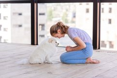 Cute teenage girl training her spitz dog at home Product Image 6
