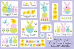 Cute Easter Bunny & Chick Graphics Product Image 1