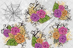 Halloween Flowers Clipart, Roses Clip Art, Stickers PNG Pack Product Image 3