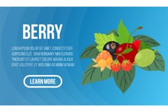 Berry concept banner, isometric style Product Image 1