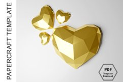 PDF Template of 3D Heart Papercraft Lowpoly Love Papercraft Product Image 4