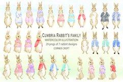 Cumbria Rabbit Family, Mum, Dad, Sisters, Watercolor Illustration  Product Image 2
