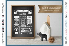 BIRTH STATS TEMPLATE - Baby Birth Announcement - SVG file Product Image 2