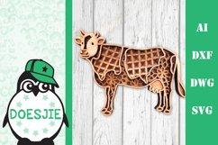 Cow farm animal 3d svg model multi layer mandala layered Product Image 1