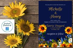 Sunflower and Blue Wedding Invitation Product Image 2