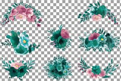 Watercolor elegant emerald green and mauve floral bouquets. Product Image 2