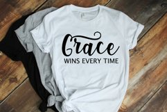 Grace Wins Every Time Christian Saying, faith quote svg dxf Product Image 2