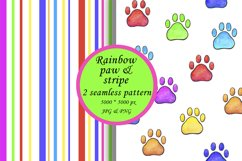 Rainbow Paw Print Digital Paper, Rainbow stripes Product Image 1