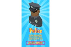 Police concept banner, comics isometric style Product Image 1