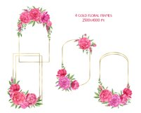 Watercolor Pink Peonies Frames Bouquets Floral Clipart Product Image 3