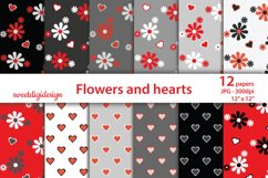 Red and gray flowers and hearts background Product Image 1