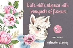 cute white alpaca with bouquets of flowers Product Image 1