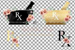 Floral medicine mortar and pestle decor design. Med gift png Product Image 4