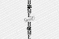 Home Sweet Home With Paw Prints SVG   Vertical Porch Sign   Product Image 2