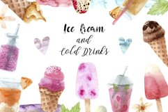 Watercolor Ice Cream and Cold Drinks. Seamless Patterns Product Image 1