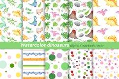 Watercolor Dinosaur Patterns, Cute Dinosaur Digital Papers Product Image 1