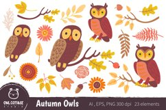 Autumn Owls and Fall Elements, Woodland Animals Clipart Product Image 1