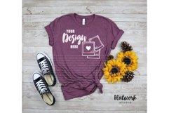 Fall Mockup | Bella Canvas 3001 T-shirt | Heather Maroon Product Image 1