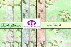 Spring boho flowers digital paper, Boho floral patterns Product Image 1