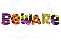Beware Halloween Embroidery Design Product Image 1