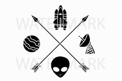 Two Arrow with Spaceship Planet Radio Station and Alien head - SVG/JPG/PNG Hand Drawing Product Image 1