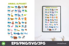 Animal Kids Alphabet Clipart, English ABS letters School Product Image 1