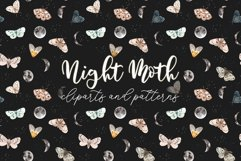 Night Moth. Watercolor Patterns and Clipart Product Image 1