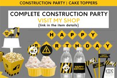 Construction party cake topper, birthday party printables Product Image 4