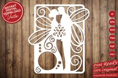 Papercut Wedding Couple with Butterfly Wings, Invitation Art Product Image 5
