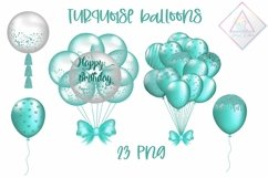 Turquoise Balloon Clipart Product Image 1