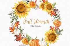 Thanksgiving Clipart, Fall Wreath, Handpainted Illustration, Product Image 1