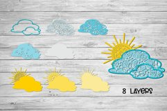 3d SVG Layered Sun and Clouds | Sunshine SVG Product Image 2