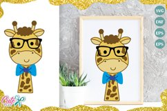 Giraffe boy with sunglasses and bow SVG for crafter Product Image 1