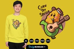 Cute Corn Cowboy with Guitar for T-Shirt Design Product Image 1