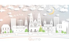 Quito Ecuador City Skyline in Paper Cut Style Product Image 1