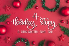 A Holiday Story - A Christmas Hand-Written Font Trio Product Image 1