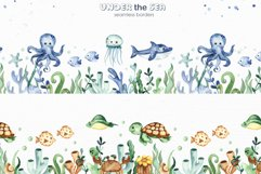 Under the sea. Watercolor clipart, frames, cards, patterns Product Image 7