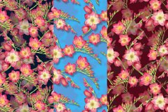 red flowers freesia seamless pattern watercolor Product Image 2