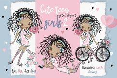 Cute Teen Girls 2, Digital Clipart, Fashion Girls, Valentine Product Image 1