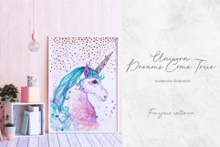 Hand painted watercolor illustration of Unicorn Product Image 3