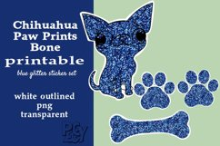 Chihuahua Blue Glitter Printable Sticker SET Product Image 1