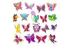 Set of Eighteen Cartoon Butterflies Character Product Image 1