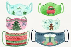 Christmas face mask clipart, Watercolor clip ar Product Image 1