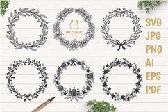 Floral X-mas Wreaths Set SVG, Christmas Decor Cut Files Product Image 1
