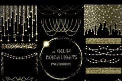 Gold Bokeh String Fairy Lights Overlays PNG Clipart Product Image 3