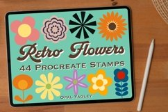 44 Retro Flower Procreate Stamps , Groovy Floral Brushes Product Image 1