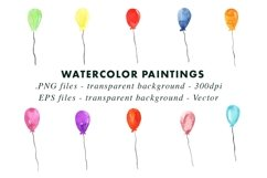 Watercolor Balloons Party Illustrations Clip Art PNG & EPS Product Image 2