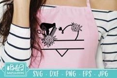 Hairdresser Monogram Split Frame SVG - Floral Heart Product Image 3
