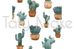 Seamless pattern of watercolor green cacti Product Image 2