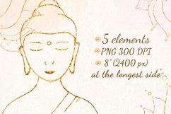 Yoga clipart Gold Buddha Lotus Om symbol Yin Yang Meditation Product Image 2